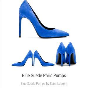 Saint Laurent Blue Suede Paris Heels